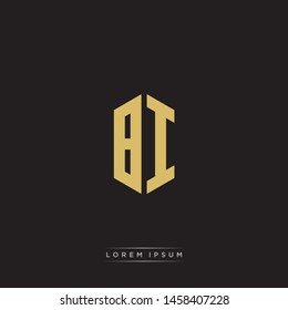 BI Logo Emblem Capital Letter Modern Template EPS 10 With Black Background
