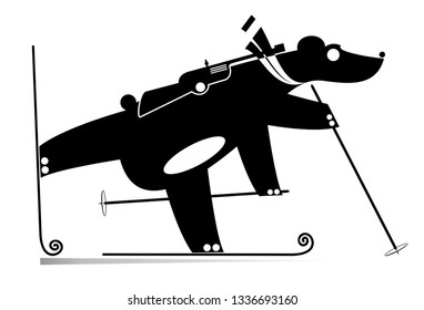 Biathlon competitor bear black on white illustration. Biathlon competitor cartoon bear original silhouette isolated