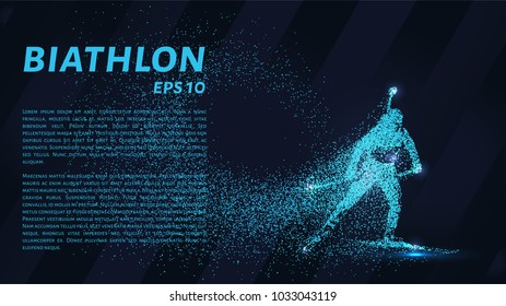 Biathlon consists of particles. The biathlon consists of dots and circles. Blue biathlon on a dark background