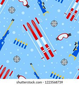 Biathlon equipment seamless pattern. Vector illustration. Winter outdoors repeat texture. Activities template print. Sports wallpaper. Colorful design for clothes prints, biathlon fancier attribute