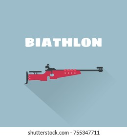 Biathlon flat vector illustration. Biathlon rifle vector illustration. Winter sport.
