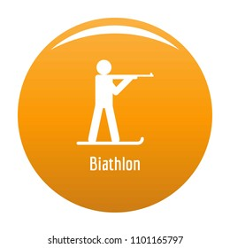 Biathlon icon. Simple illustration of biathlon vector icon for any design orange