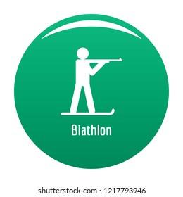 Biathlon icon. Simple illustration of biathlon vector icon for any design green