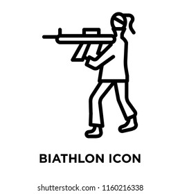 Biathlon icon vector isolated on white background, Biathlon transparent sign , linear symbol and stroke design elements in outline style