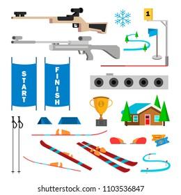 Biathlon Icons Set Vector. Biathlon Accessories. Target, Gun, Target, Start, Finish. Isolated Flat Cartoon Illustration