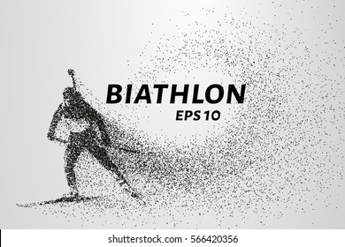 The biathlon is made up of particles. The biathlon consists of circles and points. Vector illustration