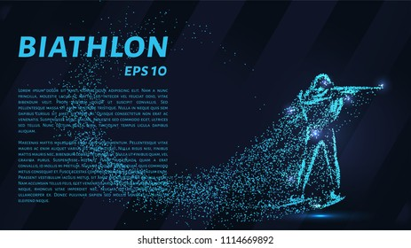 Biathlon of the particles. Silhouette of biathlon from small circles