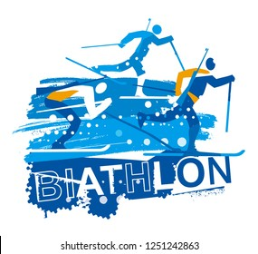 Biathlon race, Cross country skiers grunge stylized. Illustration of three stylized biathlon  racers with inscription BIATHLON. Isolated on white background. Vector available.