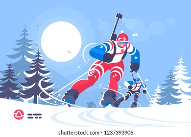 Biathlon race skiing man flat illustration. Running athlete boy racer biathlete taking part in competition vector illustration. Winter sport concept.