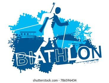 Biathlon racer.  Grunge stylized Illustration  of The running biathlon athlete and inscription BIATHLON. Vector available.