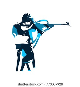 Biathlon racer shooting. Abstract blue isolated vector silhouette. Side view. Winter sport