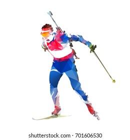 Biathlon racing, abstract geometric skier silhouette