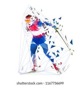 Biathlon racing, polygonal isolated vector illustration. Winter sport