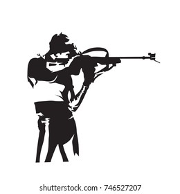 Biathlon racing, shooting man, abstract vector silhouette