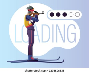 Biathlon shooting illustration. Loading concept