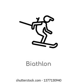 biathlon vector line icon. Simple element illustration. biathlon outline icon from sports concept. Can be used for web and mobile