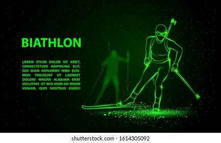 Biathlon winter sport banner. Biathlon girl and other athlete behind skiing. Front view vector green neon biathlon racing illustration.