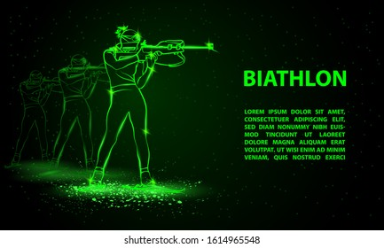 Biathlon winter sport banner. Biathlon girl and other athlete behind shooting in the stand position. Side view vector green neon biathlon shooting illustration.