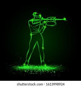 Biathlon winter sport. Biathlon girl shooting in the stand position. Side view vector green neon biathlon shooting illustration.