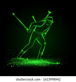 Biathlon winter sport. Biathlon man linear silhouette skiing. Side view vector green neon biathlon competitor illustration.
