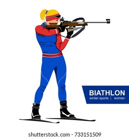 Biathlon, women, shooting standing. Vector illustration. Winter sports. White background.