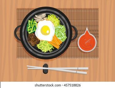 Bibimbap, Bi Bim Bap or so called Mixed Rice with Ssamjang sauce Top View Illustration. Flat Lay Korean Cuisine image. Editable Clip Art