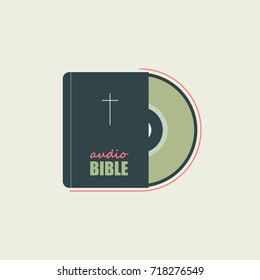 The bible and audio a disk symbolize Christian faith. Executed in a flat style with minimum colors.