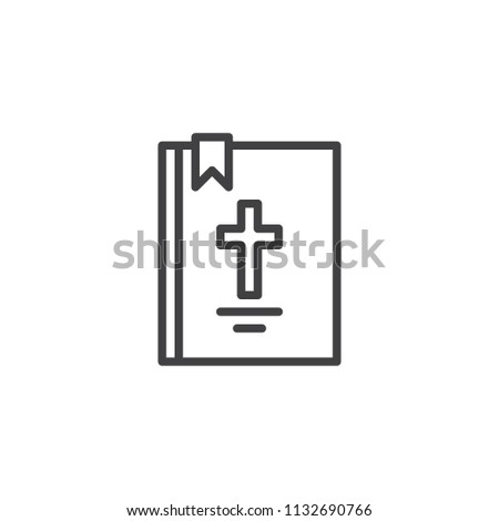 Bible Book Cross Outline Icon Linear Stock Vector Royalty Free