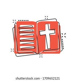 Bible book icon in comic style. Church faith cartoon vector illustration on white isolated background. Spirituality splash effect business concept.