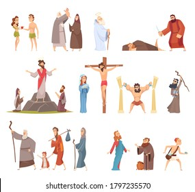 Bible characters. Historical antique holy people vector illustrations collection