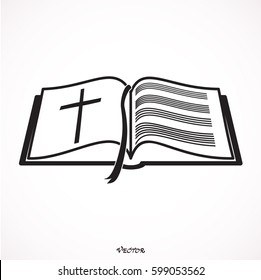 Bible Church logo. the name of the mission. Bible Society.  Icon isolated on white bockground, vector.