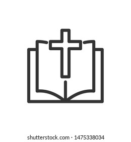 Bible Church with Religion Cross icon template color editable. Bible book symbol vector sign isolated on white background. Simple logo vector illustration for graphic and web design.