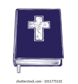 Bible, gospel, the doctrine of Christianity, symbol of Christianity hand drawn vector illustration sketch