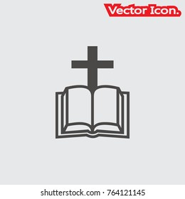 Bible icon isolated sign symbol and flat style for app, web and digital design. Vector illustration.