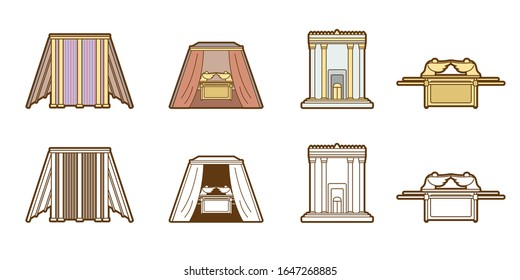 Bible icons Tabernacle Tent Temple Ark cartoon graphic vector.