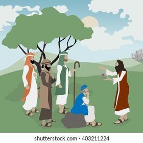 Bible illustration Jesus Explains Love to teachers of the law.