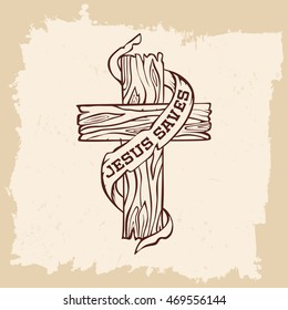 Bible lettering. Christian art. Cross. Jesus saves.