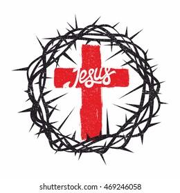 Bible lettering. Christian art. Crown of thorns, Jesus cross.