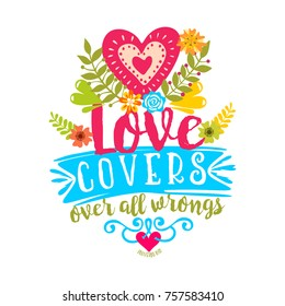 Bible lettering. Christian art. Love covers over all wrongs.
