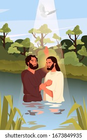 Bible narratives about the Baptism of Jesus Christ. John the Baptist with Jesus standing in the water. Holy Spirit as a dove descending on them. Christian bible character. Vector illustration.