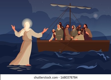 Bible narratives about Jesus walking on water. The disciples saw Jesus walking on the water in the storm. Christian bible character. Vector illustration