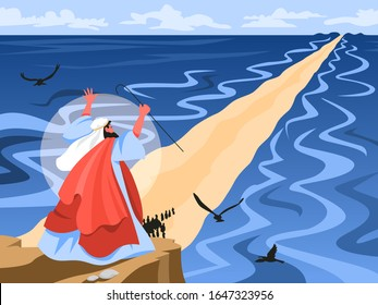 Bible narratives about Moses miracle. Christian bible character. Scripture history.Moses splitting the red sea and ordering let Jewish people go out of Egypt. Vector illustration