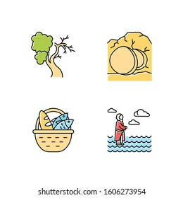 Bible narratives color icons set. Fig tree, open coffin, bread and fish, Jesus walking on water. Easter week. Christian miracles. Holy writ. Gospel studying, learning. Isolated vector illustrations