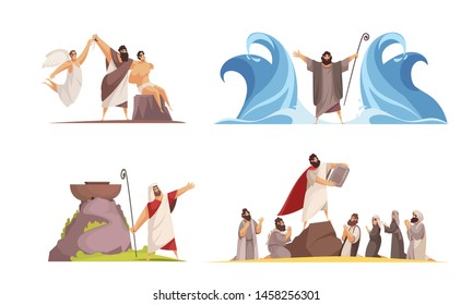 Bible narratives design concept with four isolated doodle style compositions and iconographic scenes with legendary characters vector illustration