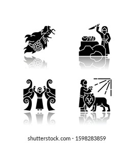 Bible narratives drop shadow black glyph icons set. Chariot of fire, binding of Isaac myths. Religious legends. Christian religion, holy book scenes. Biblical stories. Isolated vector illustrations