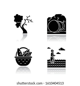 Bible narratives drop shadow black glyph icons set. Fig tree, open coffin, bread and fish, Jesus walking on water. Easter week. Christian miracles. Holy writ. Isolated vector illustrations