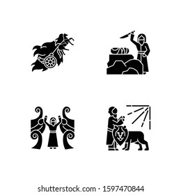 Bible narratives glyph icons set. Chariot of fire, binding of Isaac myths. Religious legends. Christian religion, holy book scenes. Biblical stories. Silhouette symbols. Vector isolated illustration