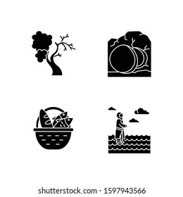 Bible narratives glyph icons set. Fig tree, open coffin, bread and fish, Jesus walking on water. Easter week. Holy writ. Gospel studying, learning. Silhouette symbols. Vector isolated illustration