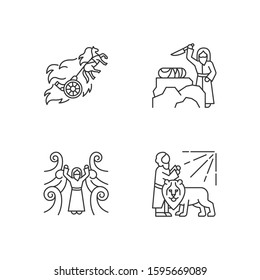 Bible narratives linear icons set. Chariot of fire, binding of Isaac myths. Biblical stories. Religious legends. Thin line contour symbols. Isolated vector outline illustrations. Editable stroke