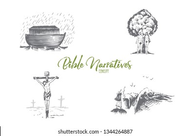 Bible narratives - Noahs ark, Adam and Eve, Jesus Christ vector concept set. Hand drawn sketch isolated illustration